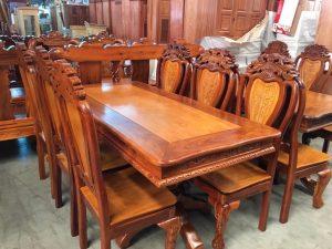 Bàn ăn gỗ Căm Xe mặt Gõ Đỏ 8 ghế