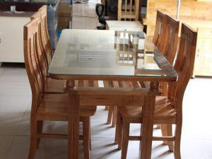 Bàn ăn gỗ Sồi Nga 2 tầng 6 ghế
