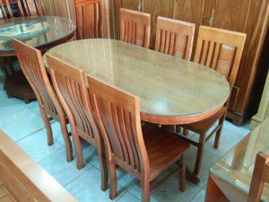 Bàn ăn gỗ Sồi Nga Oval 6 ghế