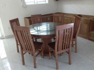 Bàn ăn gỗ Sồi tròn 6 ghế